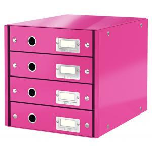 Zásuvkový box Leitz Click & Store 4 zásuvky ružový