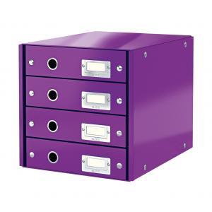 Zásuvkový box Leitz Click & Store 4 zásuvky purpurový