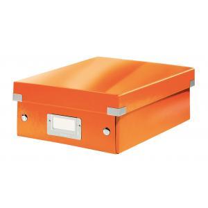 Malá organizačná škatuľa Click & Store metalická oranžová