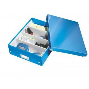 Stredná organizačná škatuľa Click & Store metalická modrá