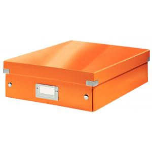Stredná organizačná škatuľa Click & Store metalická oranžová