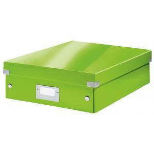 Stredná organizačná  škatuľa Click & Store metalická zelená