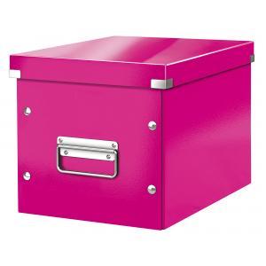 Štvorcová škatuľa A5 (M) Click & Store metalická ružová