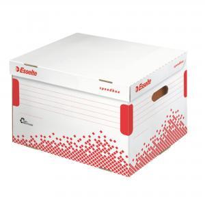 Archívna škatuľa Esselte Speedbox so sklápacím vekom biela/červená