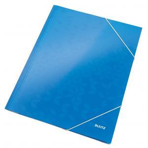 Kartónový obal lesklý s gumičkou Leitz WOW modrý