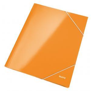 Kartónový obal lesklý s gumičkou Leitz WOW oranžový