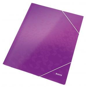 Kartónový obal lesklý s gumičkou Leitz WOW purpurový