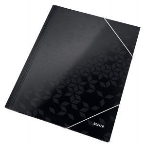 Kartónový obal lesklý s gumičkou Leitz WOW čierny