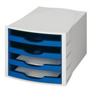 Zásuvkový box Monitor otvorený sivá/modrá