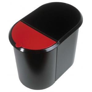 Kôš na separovaný odpad čierny/červená vložka