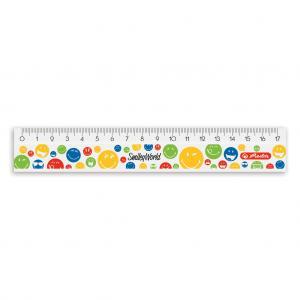 Pravítko Smiley World Rainbow 17 cm plastové biele s potlačou
