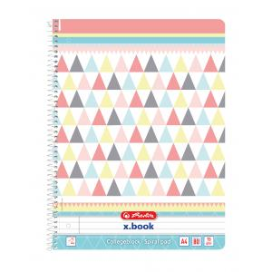 Blok College Herlitz A4 80 listov Graphic Pastels trojuholníky linajkový