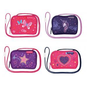 Taštička na krk Dievčatá 14,5x10,5x2cm mix motívov Motýle, Jednorožec, Hviezdy, Srdcia