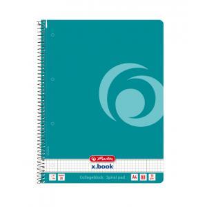 Blok College Herlitz A4 80 listov Color Blocking štvorčekový karibská tyrkysová