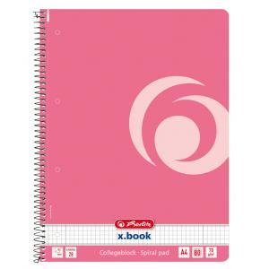 Blok College Herlitz A4 80 listov Color Blocking štvorčekový indonézska ružová