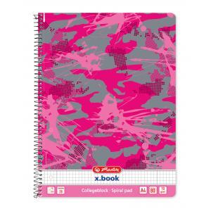 Blok College Herlitz A4 80 listov Camouflage ružový štvorčekový