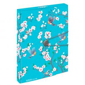 Plastový box s gumičkou Herlitz Ladylike A4 PP Vtáci
