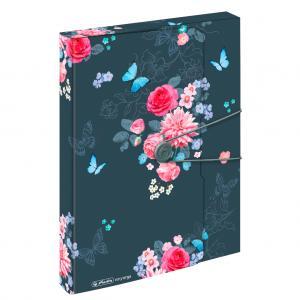 Plastový box s gumičkou Herlitz Ladylike A4 PP Kvety