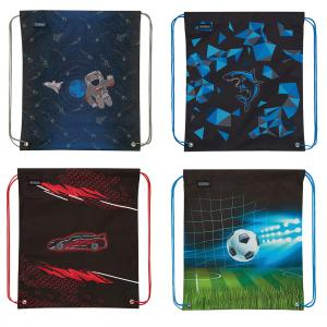 Vrecko na prezuvky Herlitz 36x5x40,5x0,5cm mix Vesmír Žralok Pretekárske auto červené Futbal
