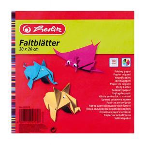 Farebný papier Herlitz 100 listov 10 farieb 20x20cm 60g