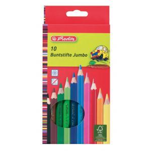 Farbičky Herlitz Jumbo šesťhranné 10 farieb