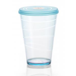 Pohár plastový s viečkom myDRINK 400ml modrá