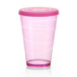 Pohár plastový s viečkom myDRINK 400ml ružová