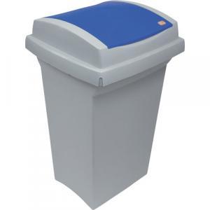 Odpadkový kôš na triedenie odpadu - plastový s modrým vekom, 50 l