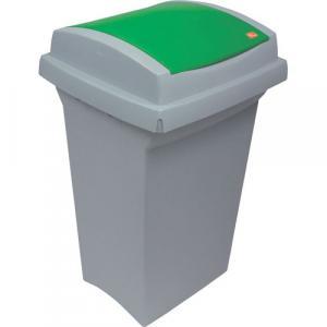 Odpadkový kôš na triedenie odpadu - plastový, so zeleným vekom, 50 l