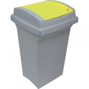 Odpadkový kôš na triedenie odpadu - plastový, so žltým vekom, 50 l