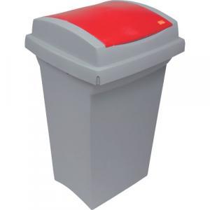 Odpadkový kôš na triedenie odpadu - plastový s červeným vekom, 50 l