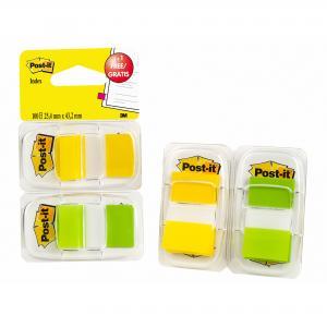 Záložky Post-it Index široké 25x43 zelená a žltá