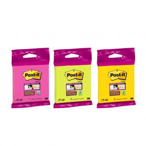 Bločky Post-it Super Sticky 76x76mm, 75l mix farieb žltá, zelená, fuksiová
