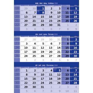 Trojmesačný kalendár modrý 2022