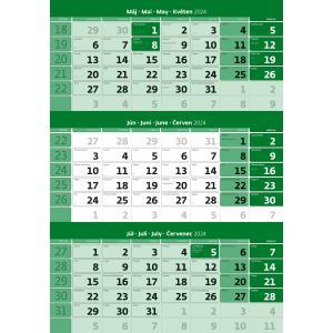 Trojmesačný kalendár zelený 2022