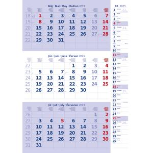 Trojmesačný kalendár modrý s poznámkami 2022