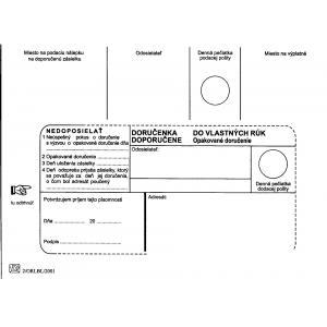 Poštové obálky B6 doručenka do VR OD, Nedoposielať, 1000 ks