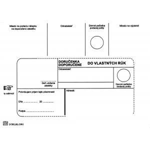 Poštové obálky B6 doručenka do VR bez OD biele, 100 ks