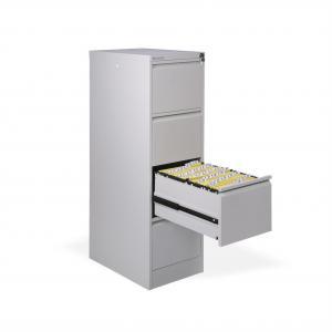 Štvorzásuvková kartotéková skriňa kovová OP, 41,6x132,0x62,0 cm, sivá