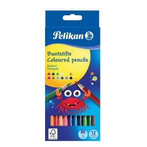 Farbičky Pelikan trojhranné tenké 12 ks