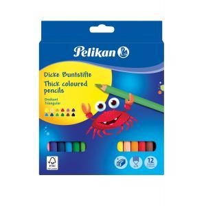 Farbičky Pelikan Jumbo 12 ks + strúhadlo