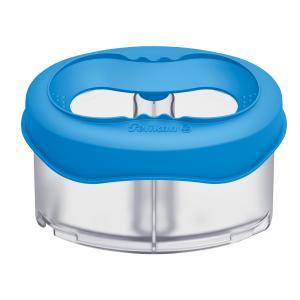 Plastový pohárik na vodové farby s držiakom na štetec, modrý