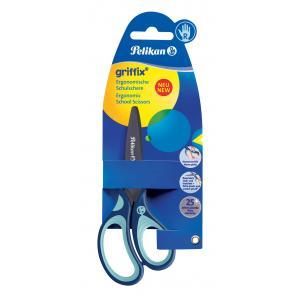 Nožnice Pelikan Griffix pre pravákov v blistri modré