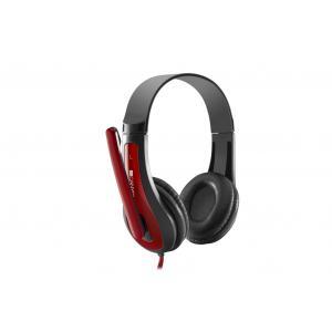 Slúchadla s mikrofónom Canyon CNS-CHSC1BR, 1 x 3.5mm jack komb., 2 m, čierno-červené