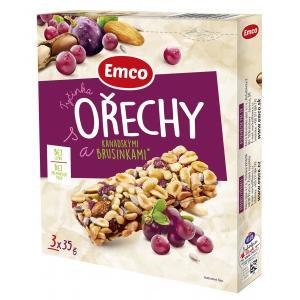 Tyčinka Emco s orechami a kanad. brusnicami 3x35g