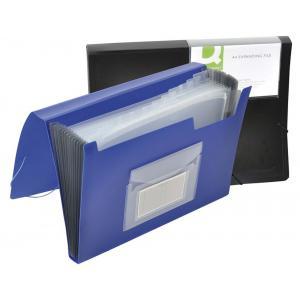 Aktovka plastová s priehradkami Q-Connect nepriehľadná modrá
