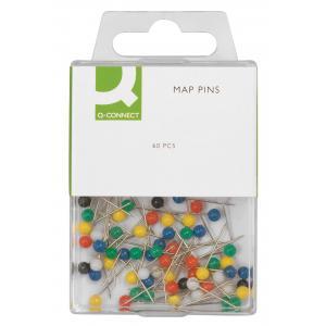 Napichovacie špendlíky guľaté Q-Connect 4mm mix farieb 60ks