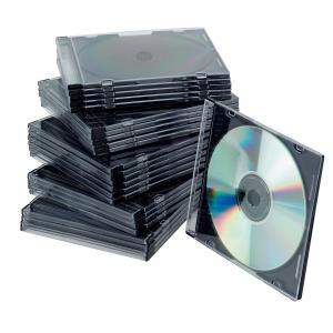 Obal Slim na CD/DVD Q-CONNECT z plastu čierny/priehľadný