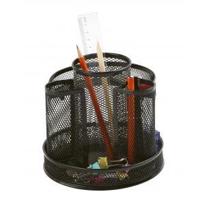 Drôtený stojan na perá Q-connect otočný čierny