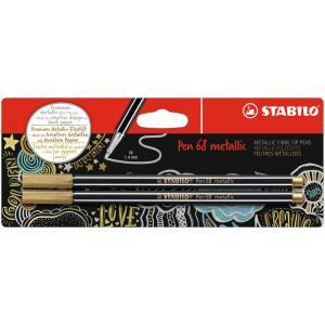Popisovač STABILO Pen 68 2ks v blistri metalic zlatá